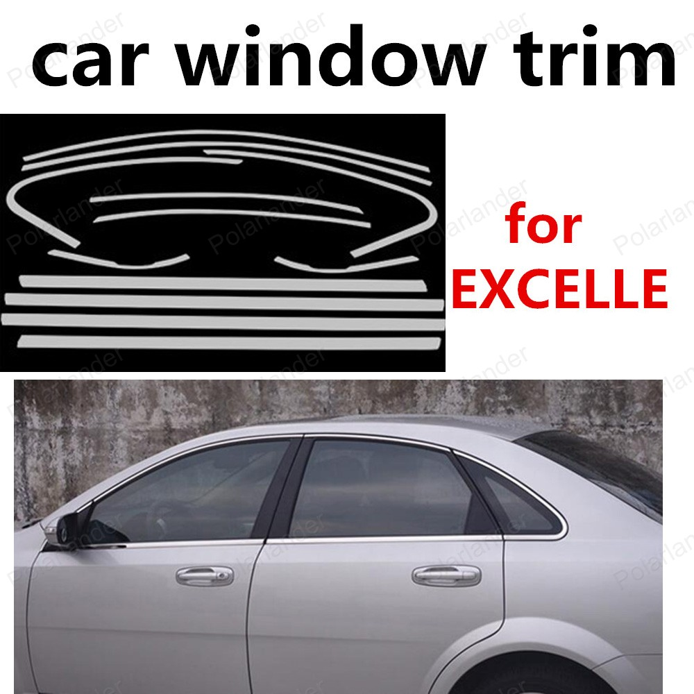 new! For Buick Excelle Stainless Steel Window Frame Trim without column Car Styling Strips car styling stainless steel for volkswagen polo window trim without center pillar decoration strips