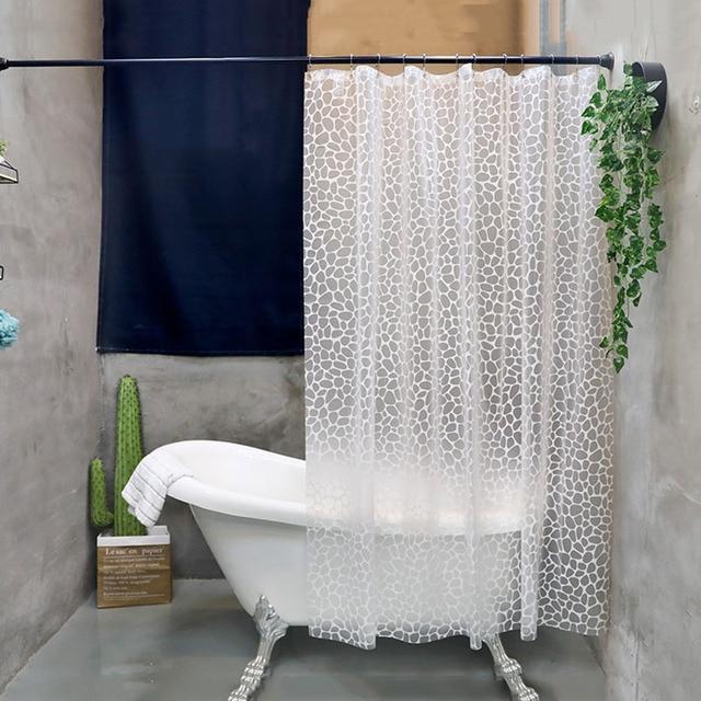 UFRIDAY PEVA Shower Curtain Fabric Translucent Fresh Waterproof Bath Cortinas Ducha Durable Mildew Curtains Hook