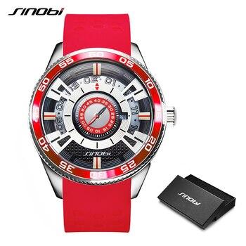 Мужские кварцевые часы SINOBI, водонепроницаемые часы со светящимся дисплеем из нержавеющей стали
