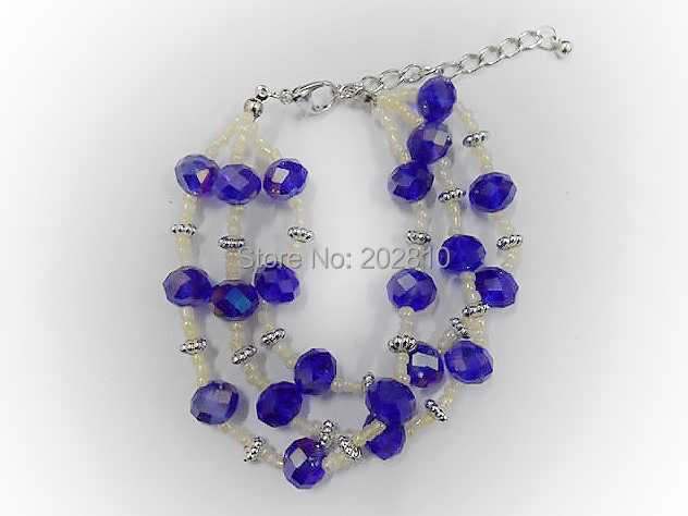 3 layers silver plated flowers accessories blue crystal bracelet good quality lowest price china jewelry factory hand-made