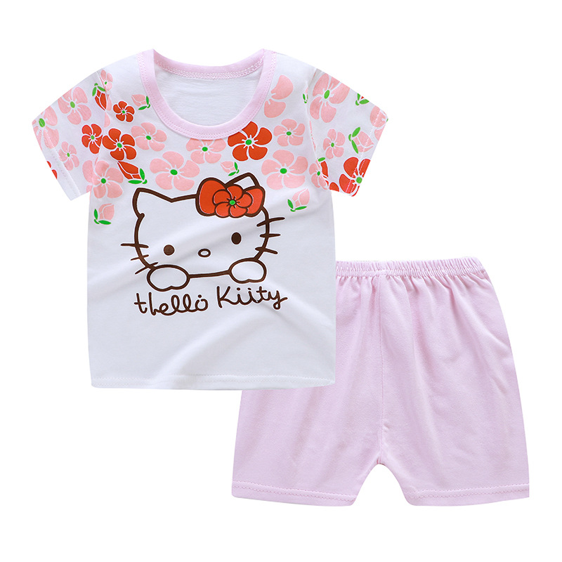 Child Woman Princess Clothes Hi there Kitty Summer time 19 New Born Child Woman Garments Set Cartoon Shirt+pants Clothes Units, Low cost Clothes Units, Child Woman Princess Clothes Hi...