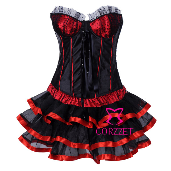 Polka Dot Red Black Patchwork Burlesque   Corset   Skirt Set Women   Bustiers   &   Corsets   Sexy Party Wear Corpetes E Espartilhos Skirts