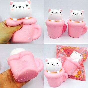 High Quality10pcs kawaii squishy jumbo cute cat squishy slow rising squeeze toys kids gift for girls phone straps