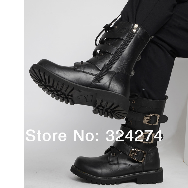 07d38f82706e 2015 men s motorcycle boots high top buckle martin boots male crazy horse leather  boots fashion knee-high men s denim boots best