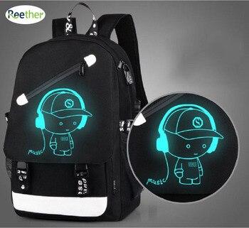 Reether School Backpacks Glow In Dark Student Backpacks Boy Computer Bag USB Charging Port School Teenager anti-theft backpack Harley-Davidson Sportster