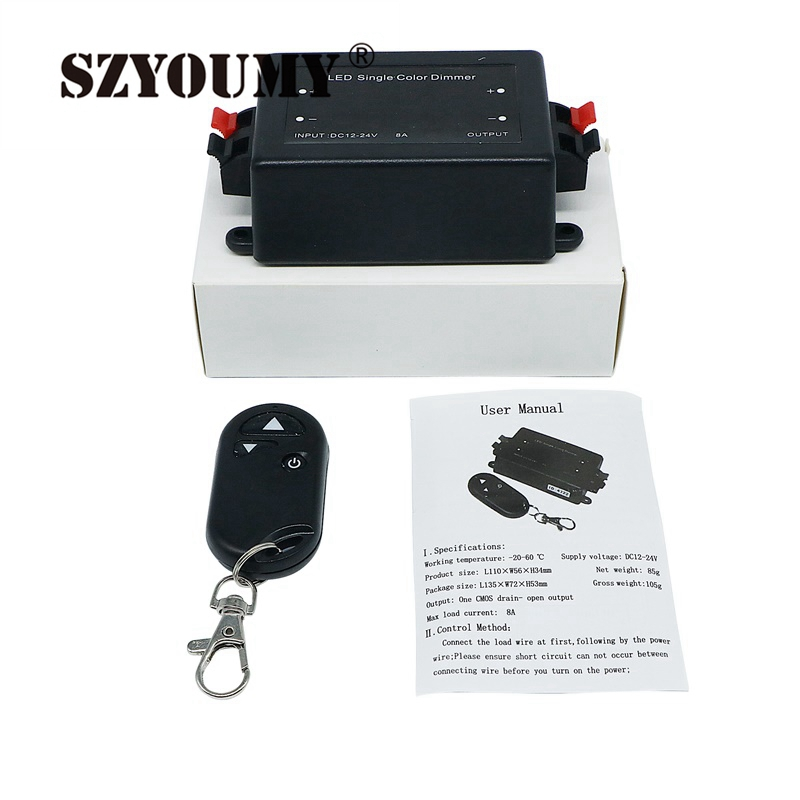 SZYOUMY DC 12V-24V 8A <font><b>LED</b></font> Single Color <font><b>Dimmer</b></font> For <font><b>LED</b></font> Spot Lamp Recessed Strip LiRF With <font><b>Remote</b></font> Controller Brightness Control image