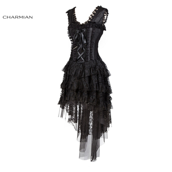 Charmian Women's Retro Victorian Gothic Corset Dress Plus Size Sexy Burlesque Ruffle Black Lace Vintage Evening Party Long Dress 1