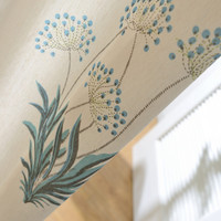 Flowers And Plants Pattern Polyester Cotton Printed Curtains Blackout Drapes Soft And Comfortable Fabrics Clear And
