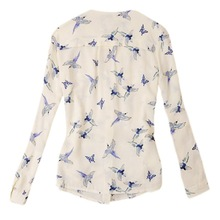 Chic Women's V-Neck Long Sleeve Shirt Chiffon Blouse Flying Birds Print Slim Top