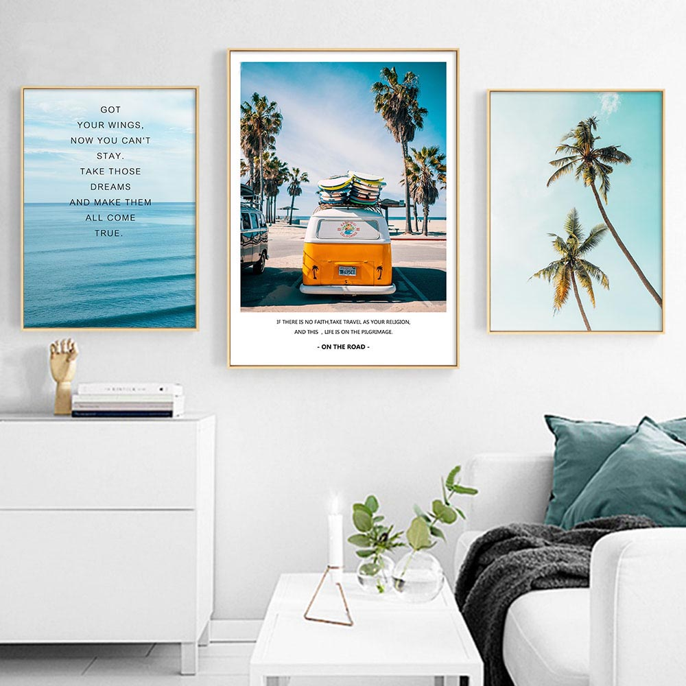 Modern Landscape Poster Tropical Sea Palm Tree Bus Wall Art Inspirational Canvas Painting Picture Living Room Home Decoration