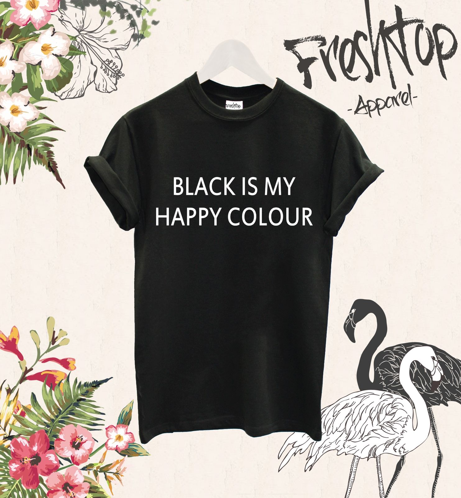 Black Is My Happy Colour T Shirt Vogue Festival Friday Hipster Grunge Rock Metal T Shirt Women Printed Funny Tee Shirts