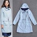 2016 de calidad superior ropa americana femme manteau abrigos de invierno para las mujeres más tamaño trench con capucha azul cielo amarillo jengibre