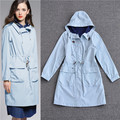 2016 top qualidade da american apparel manteau femme casacos de inverno para as mulheres plus size trench coat com capuz céu azul gengibre amarelo
