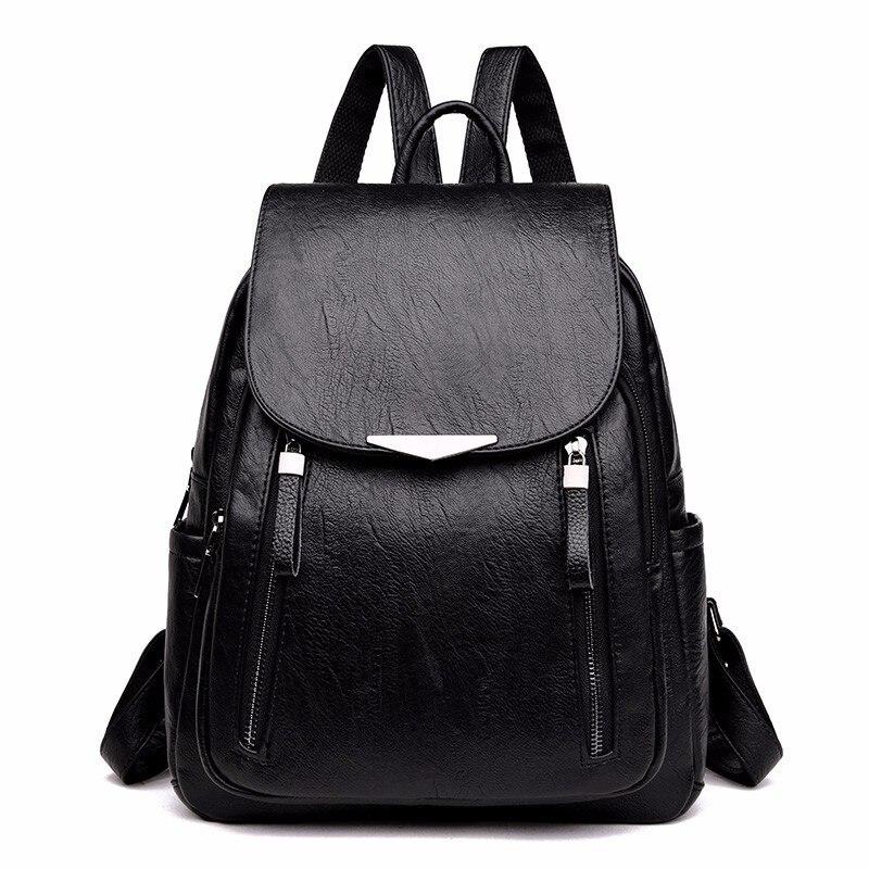 HTB11S5 fNnaK1RjSZFtq6zC2VXaK 2019 Women Leather Backpacks Female Shoulder Bag Sac A Dos Ladies Bagpack Vintage School Bags For Girls Travel Back Pack New