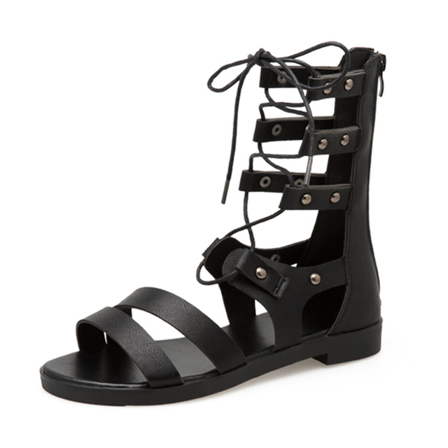 Sandalias de Mujer Sandalias de gladiador de moda para mujer zapatos de verano Sandalias planas femeninas de estilo Roma sandalias con tiras cruzadas zapatos de mujer
