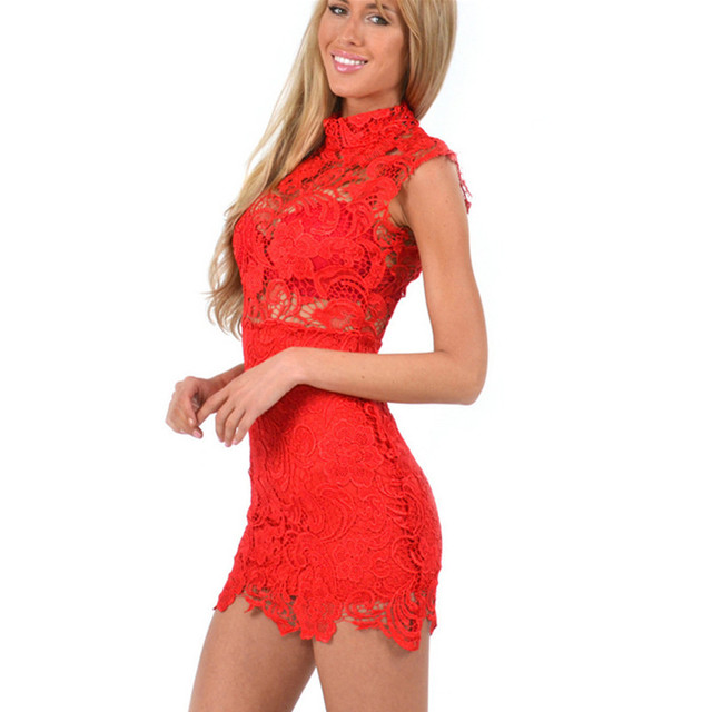 Red Black White Floral Sexy Lace Dress Women Slim Vintage Short Mini Bodycon Dress Evening Party Dresses Hollow Out Robe Femme