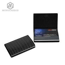 Monocarbon fibre de carbone nom carte support de la boîte carton luxe affaires porte carte cas hommes visite carte Case