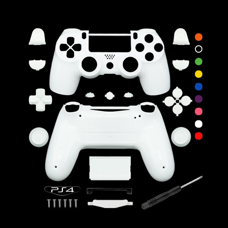 Custom Matte White Replacement Full shell and buttons mod kit For DualShock PlayStation 4 PS4 Controller Housing Cover Case
