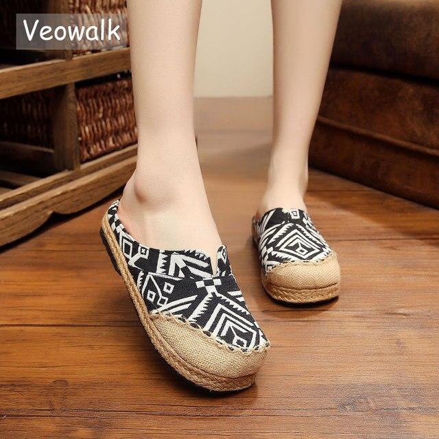 veowalk harajuku geometry embroidered women cotton slippers handmade