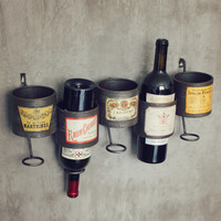 Vintage Storage Racks Muons American Loft Personalized Wall Hangings Bar Decoration Wall Red Wine Holder Bottle