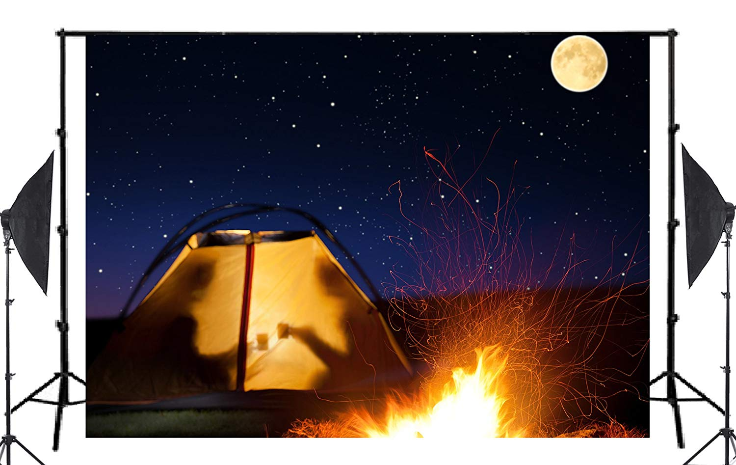 Image 2 - Full Moon Night Fire Tent Background Reunion Scene Photo Studio Backdrop 7x5ft Photography Backdrops Wall-in Photo Studio Accessories from Consumer Electronics