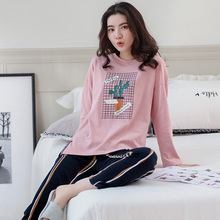 3c617fc99e Big Yards Pajamas Sets Women Cactus Pattern 100% Cotton Fashion Women  Sleepwear Suit 2 piece
