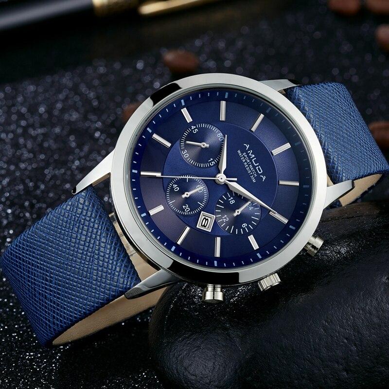 2017 AMUDA Men Watches Fashion Leather Waterproof Quartz Wrist Watch Top Brand Luxury Men Clock Male Watch Relojes Hombre Saat