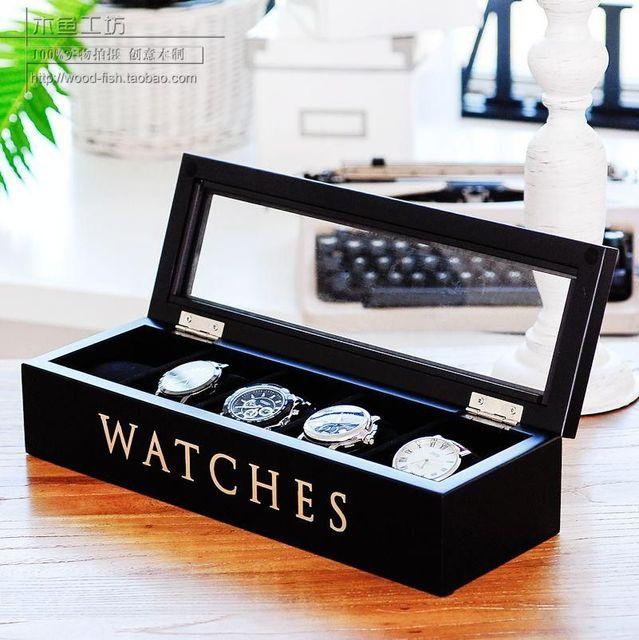 Madera De Madera Del Reloj Caja de Presentación Caja de Reloj Marco de Cinco de Color Negro Es Opcional