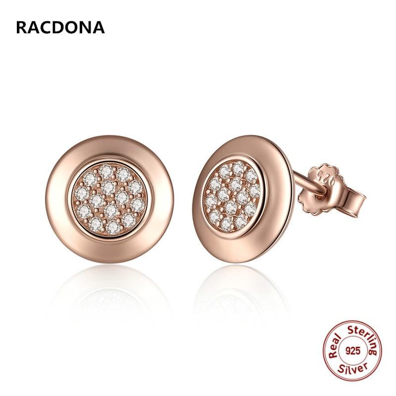 2017 Luxury 925 Sterling Silver Classic Clear CZ Zirconia Rose gold Female Stud  Earrings Fine Jewelry 5d1921b67fd1