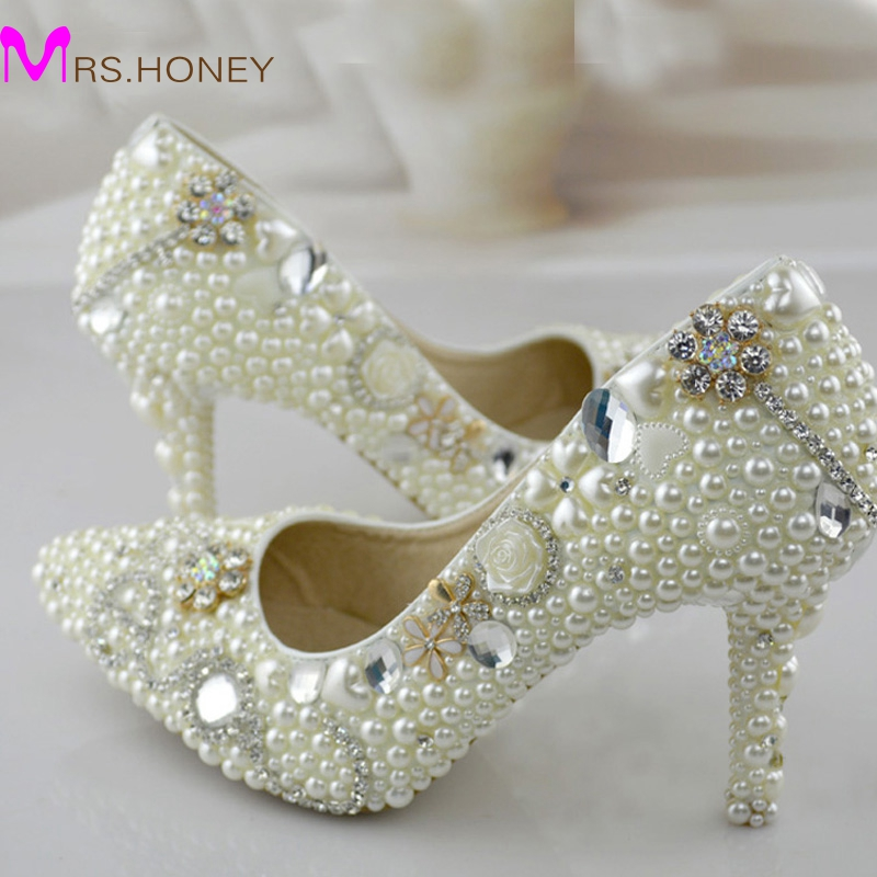 Pointed Toe Pearl Wedding Shoes 3 Inches High Heel Bridal Dress Shoes Ivory Color Women Party Shoes for Wedding Prom Pumps luxurious elegant ivory pearl wedding party dancing shoes bridal shoes pointed toe kitten heeled shoes woman lady dress shoes