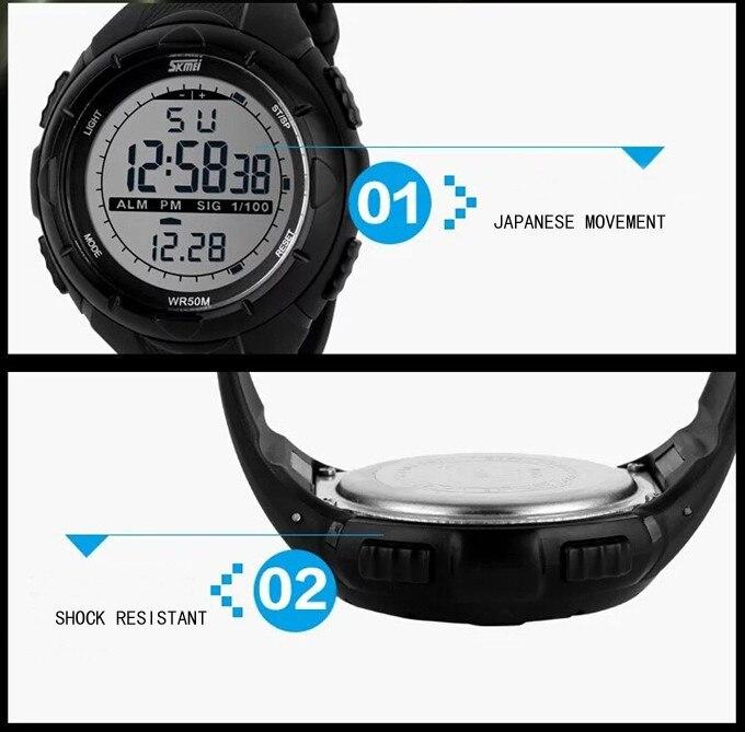 18 New Skmei Brand Men LED Digital Military Watch, 50M Dive Swim Dress Sports Watches Fashion Outdoor Wristwatches 19