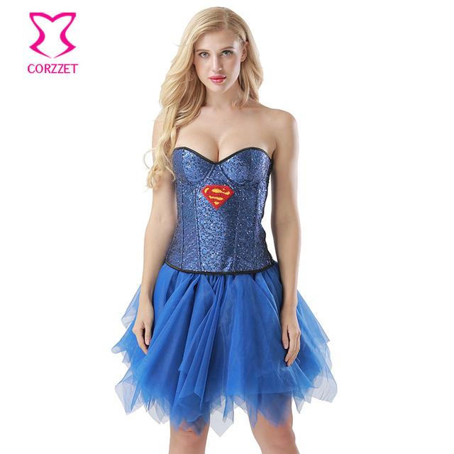 76e8653d88f2 Blue Sequin Corset Supergirl Fancy Dress Burlesque Superwomen Cosplay Women  Superhero Costume Halloween Sexy Costumes For