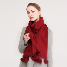 853db8bae8370 luxury Brand Solid Pashmina Cashmere Scarf With Rabbit fur ball Women Long  Blanket Scarf Wrap Wool