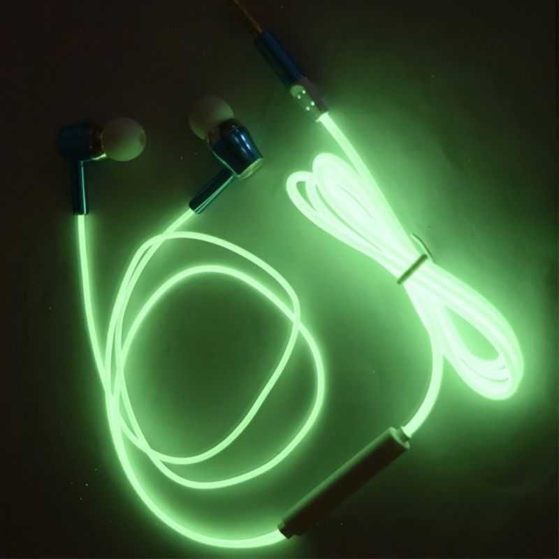 Dark Lighting Earphones Luminous Night Light Glowing Headset In-Ear Earbuds Stereo Hands Free With Mic 2016 in the dark luminous earphones in ear flash light glowing earbuds with mic neon night light universal