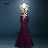2015 Elegant Evening Dresses Golden Appliques Mermaid V Neck Dresses Formal Evening Dress Vestidos De Festa