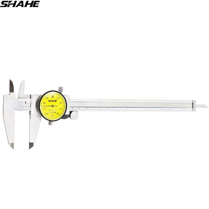 Shahe 200 mm dial caliper 0.01mm shock-proof aço inoxidável dial vernier caliper calibre métrico