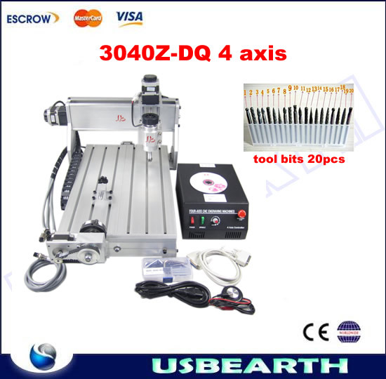 Mini CNC router 3040Z-DQ 4 axis 3D design, CNC milling machine with 20pcs tool bits cnc 5axis a aixs rotary axis t chuck type for cnc router cnc milling machine best quality