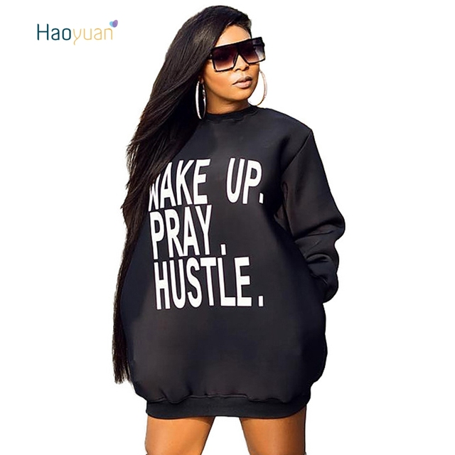 4dc4d5c372e HAOYUAN Plus Size Sexy Sweatshirt Dress Women Autumn Long Sleeve Hoodie  Dress Casual Letter Printed Pockets Mini T Shirt Dresses