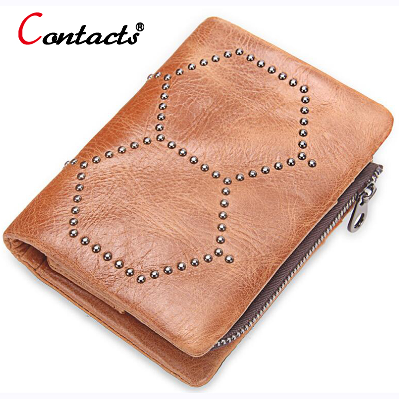 CONTACTS Rivet Men Wallet Bifold genuine leather Wallet Coins Pocket Male Purse Card Hol ...