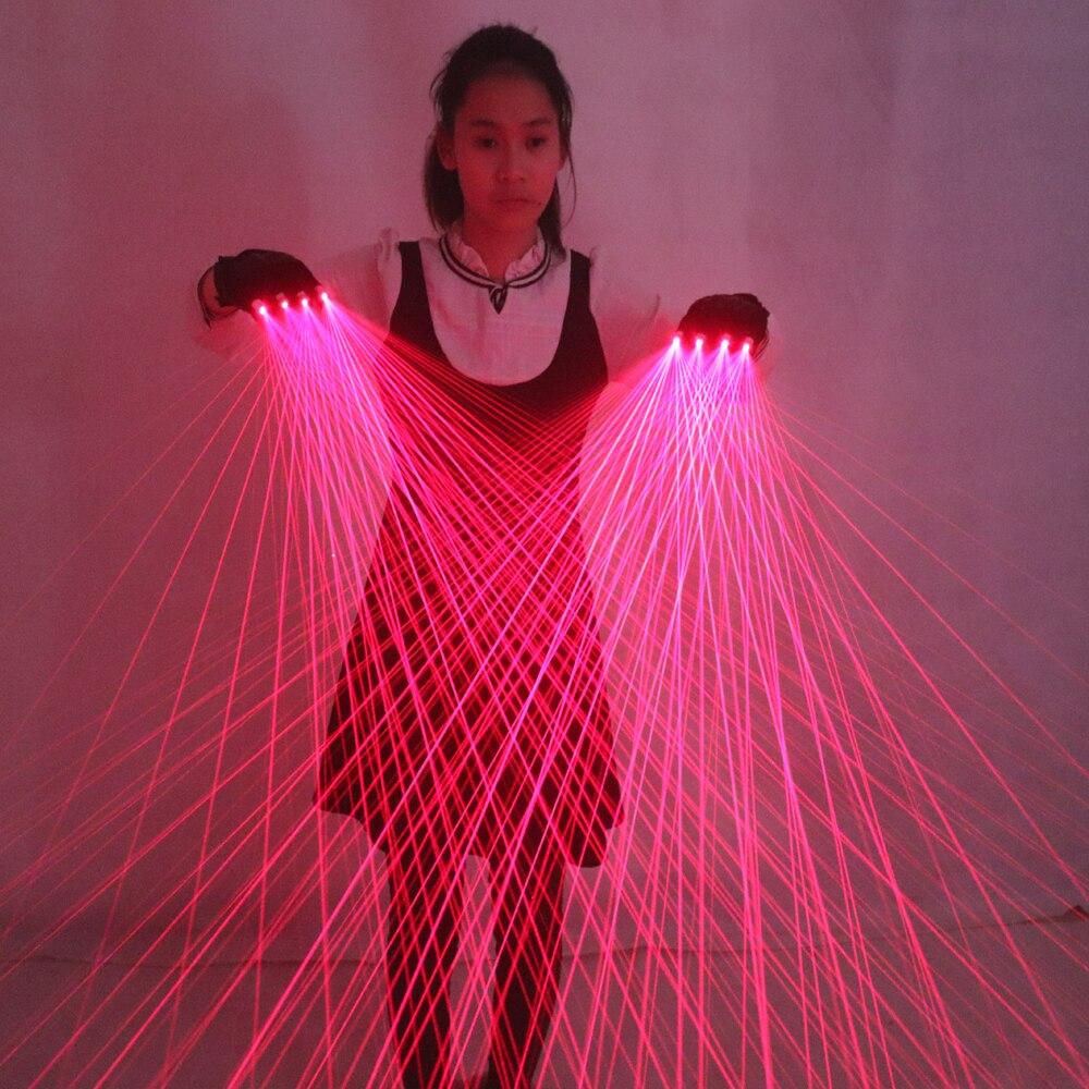 2 in 1 Multi linea di Guanti Laser Con 4 pcs 650nm 100 mw Laser Rosso, della discoteca del LED Guanti laser LED luminoso Costumi Mostrano-in Gadget fluo per party da Casa e giardino su  Gruppo 1