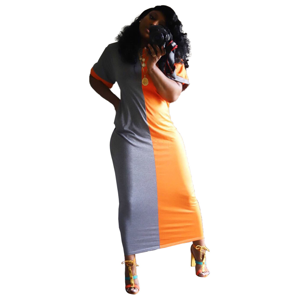 African Big Elastic Party  Dresses For Women Hot Selling Slim Sexy Women Sexy Two-color Patchwork Dress