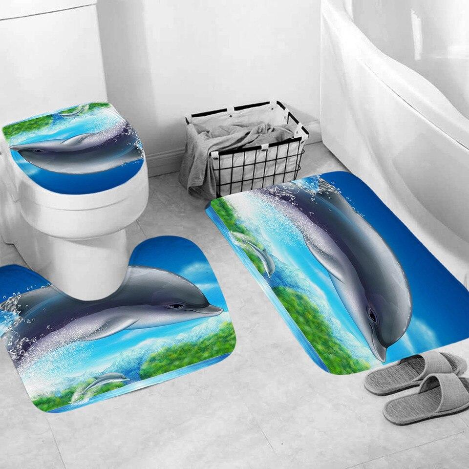 Dolphin Pattern Bath Mat Set Household
