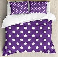 Набор пододеяльников, белый полированный узор в горошек и фиолетовый фон с традиционным рисунком, 4 комплект постельного белья