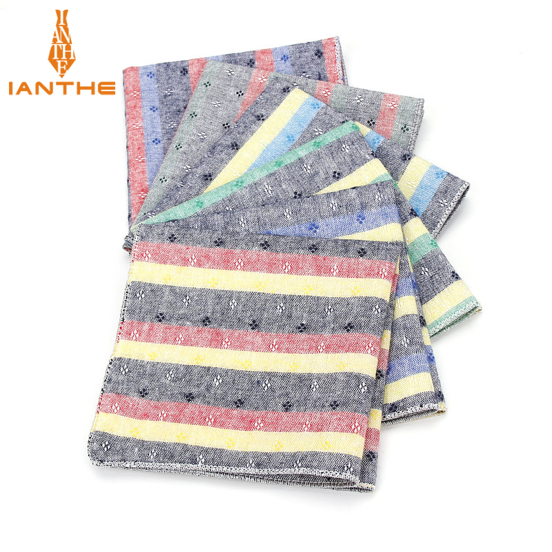 Brand New Men's Cotton Handkerchief Striped Pocket Square Wedding Hankies For Men Classic Vintage Classic Pockets Towel