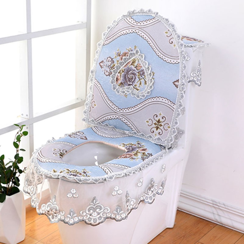 3 pieces set European Lace Toilet Seat Cushion Household Toilet Seat Zipper Seat Washer Winter U shaped Toilet Seat in Toilet Seat Covers from Home Garden
