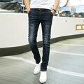 2017 Nuevos Hombres de La Manera Diseño Vaqueros Rectos del Dril de algodón Pantalones Masculinos Pantalones Ocasionales Delgados Pantalones de Ciclista Classics Negro