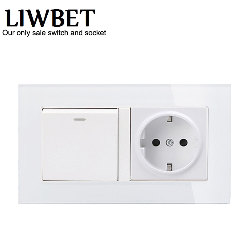 White color EU standard 16A wall socket and 146*86mm glass panel socket with 1 Gang / 2 Gang / 3 Gang / 4 Gang wall switch large panel wall switch acme elegant white simple and fashion decoration switch 3 gang double control switch 86mm 86mm