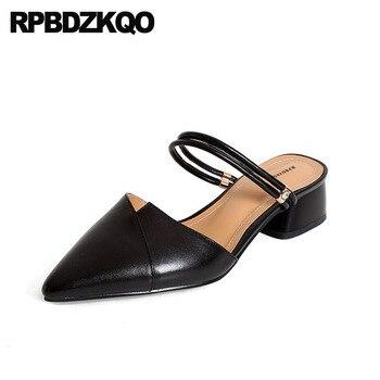 Women 2018 Size 4 34 Block Low Heels Summer Shoes Pointed Toe Genuine Leather Sandals Medium Fashion Mules Slipper Black Strap