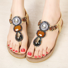 2016 New Women's Bohemian Beaded Flip Flops Sandals Flat Shoes Large Size Cheap