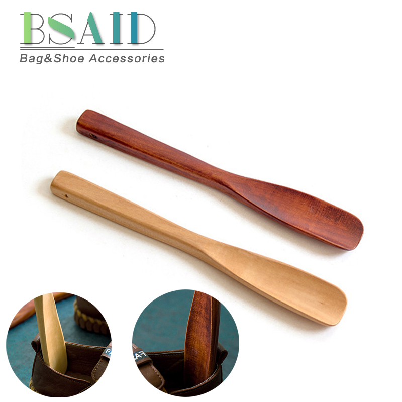 BSAID New 25cm Wodden Shoe Horns Spoon For Convenient Wearing Shoes Durable Wood Shoe Horn Shoes Accessories Aid Stick Shoehorn soumit 2 pcs wood shoe horn craft birch wooden 15 5cm short handle shoehorn lifter with leather rope for shoes accessories horns
